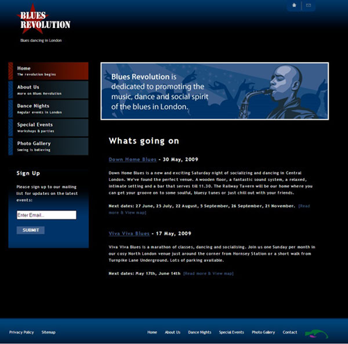 Screenshot of Blues Revolution website
