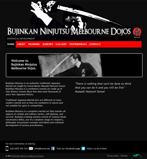 Screenshot of Bujinkan Ninjutsu Melbourne Dojos - BNMD website