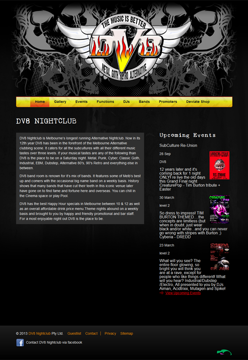 Screenshot of DV8 Nightclub website
