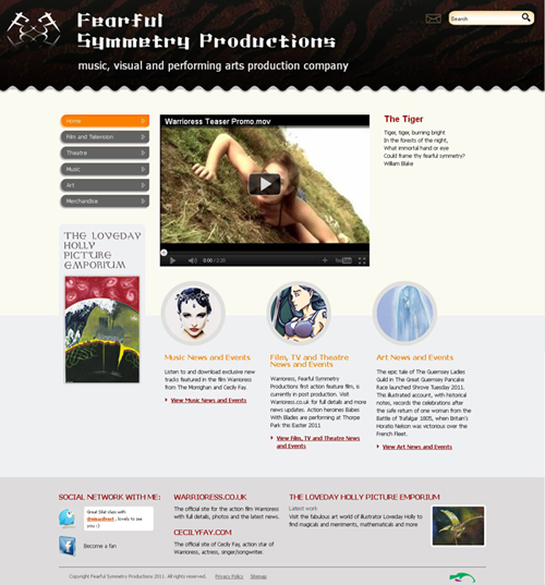 Screenshot of Fearful Symmetry Productions website