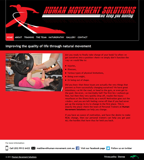 Screenshot of Human Movement Solutions website
