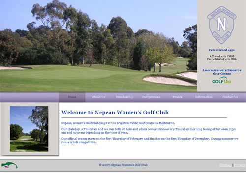 Screenshot of Nepean Womens Golf website