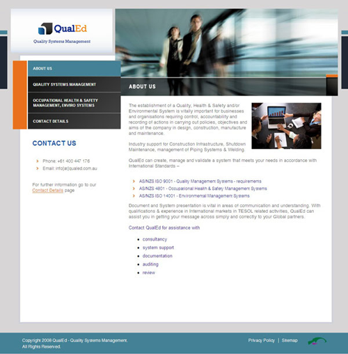 Screenshot of QualEd website