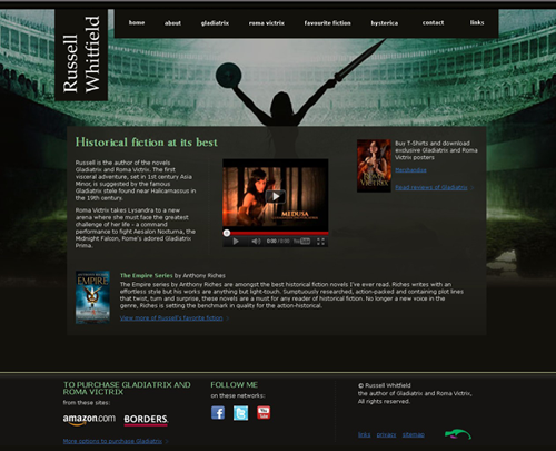Screenshot of Russell Whitfield website