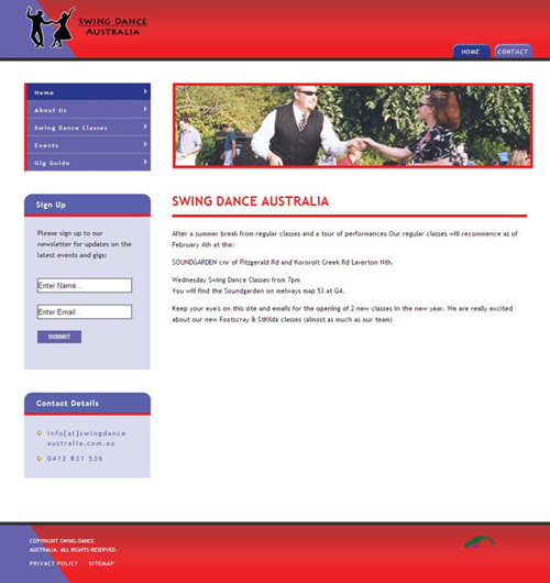 Screenshot of Swing Dance Australia website